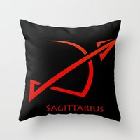 sagittarius Throw Pillows featuring Sagittarius by Groovyal