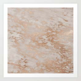 Rose Gold Copper Glitter Metal Foil Style Marble Art Print