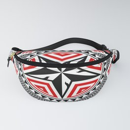 Geometric Shapes, Pentagon, Five Pointed Star And Circles, In Mixed Styles Of Thai Art, Polynesian Art, Mandala Art, Black And Red. Fanny Pack
