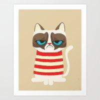 meme Art Prints featuring Grumpy meme cat  by UiNi