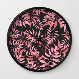 Dark Pink Leaves Wall Clock