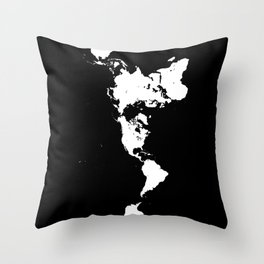 Dymaxion World Map (Fuller Projection Map) - Minimalist White on Black Throw Pillow
