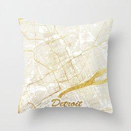 Detroit Map Gold Throw Pillow