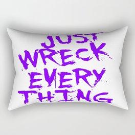 Just Wreck Everything Violet Blue Grunge Graffiti Rectangular Pillow