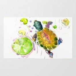 Swimming little cute turtle children nursery art Rug