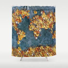 World Music Grunge Shower Curtain