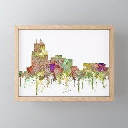 Durham,NC Skyline - Faded Glory Framed Mini Art Print