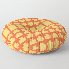Flame and Primrose Yellow Art Deco Floor Pillow