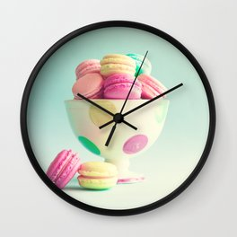 Macarons, macaroons bowl, pop art Wall Clock