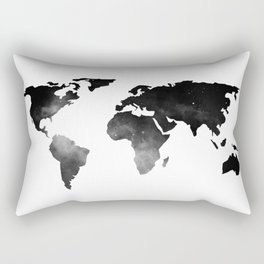 World Map Space Stars Black and White Rectangular Pillow