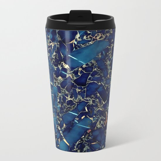 Dark blue stone marble abstract texture with gold streaks Metal Travel Mug