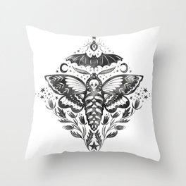 Watercolor Skull Moth Throw Pillow