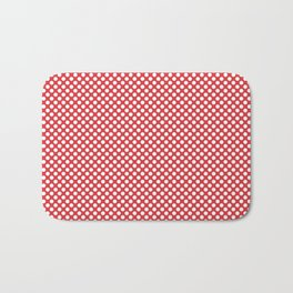 Poppy Red and White Polka Dots Bath Mat