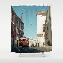 Lisbon red tram, Portugal Analog 6x6 Kodal Ektar 100 (RR 165) Shower Curtain