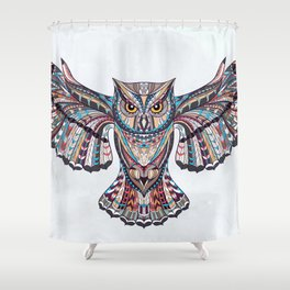 Colorful Ethnic Owl Shower Curtain