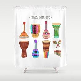 Ethnical Instrument Shower Curtain