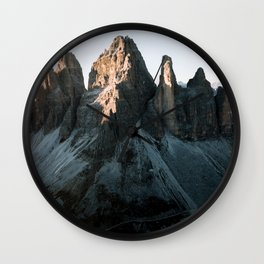 Tre Cime in the Dolomites Mountains at dusk - Landscape Photography Wall Clock