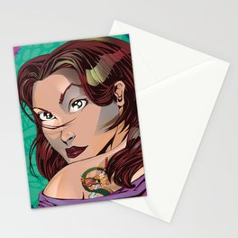Tattoo Girl - Green  Stationery Cards