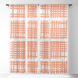 Mid Century Modern Abstract Squares Orange Sheer Curtain