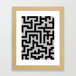Black and Gray Labyrinth Framed Art Print