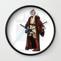 jedi Wall Clocks featuring Old jedi  by Akyanyme