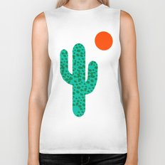 No Foolin - retro throwback neon art design minimal abstract cactus desert palm springs southwest  Biker Tank
