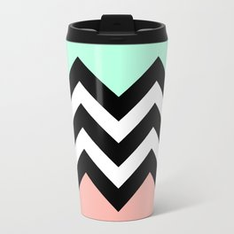 DOUBLE COLORBLOCK CHEVRON {MINT/CORAL/BLACK} Metal Travel Mug