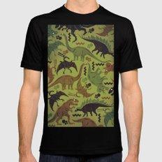 Camouflage Dinosaur Geometric Pattern Mens Fitted Tee MEDIUM Black