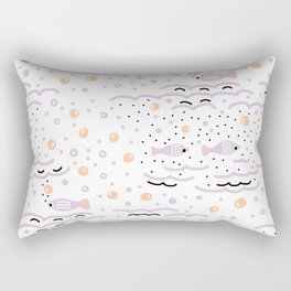 Little Lilac Fish in the Sea , Waves and Water with Tiny School of Fishes Pattern Rectangular Pillow