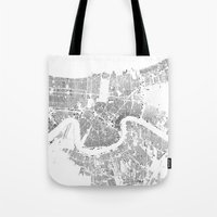 new orleans Tote Bags featuring NEW ORLEANS by Maps Factory