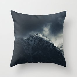 Darkness and storm clouds over mountains Throw Pillow