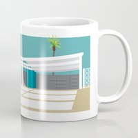 mid century modern Mugs featuring mid-century modern house four by Aubrey Doodle