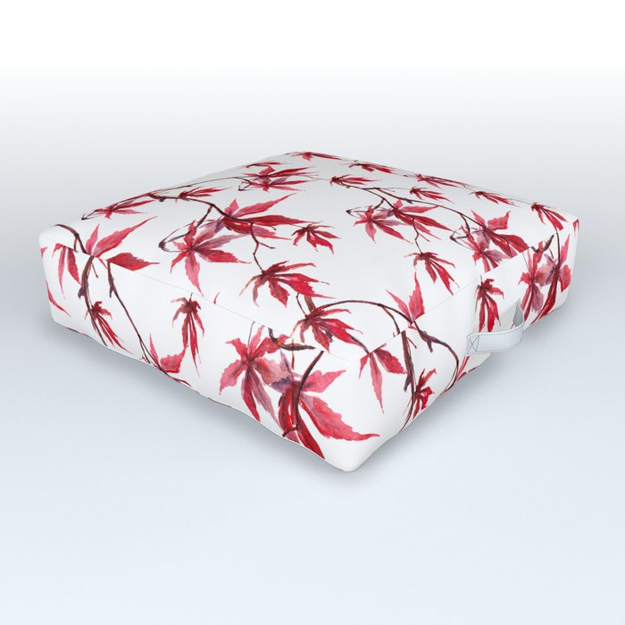 Watercolor Botanical Red Japanese Maple Leaves on Solid White Background Outdoor Floor Cushion