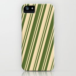 Tan and Dark Olive Green Colored Stripes/Lines Pattern iPhone Case