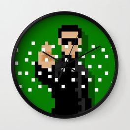 Neo of the Matrix minimal pixel art Wall Clock