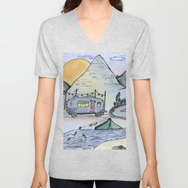 Vintage camping van in the mountains under a full moon- Illustration Unisex V-Neck