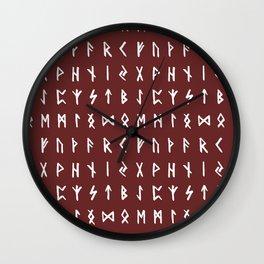 Nordic Runes // Monarch Red Wall Clock