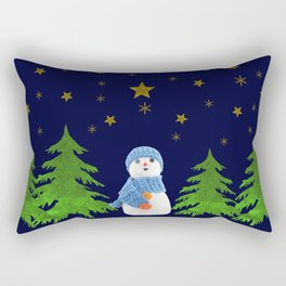 Sparkly gold stars, snowman and green tree Rectangular Pillow