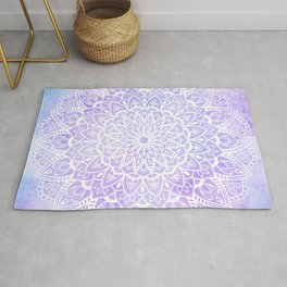 White Mandala on Pastel Blue and Purple Textured Background Rug