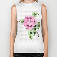 shabby chic Biker Tanks featuring Shabby Chic Pink Rose by Alisa Galitsyna