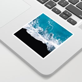 Black sand beach with waves and blue Ocean in Iceland – Minimal Photography Sticker