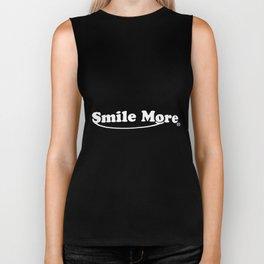 smile more funny t-shirts Biker Tank