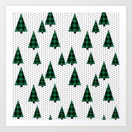 Christmas Tree forest minimal scandi dots plaid patterned holiday winter Art Print