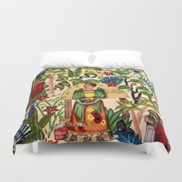 Frida's Garden, Casa Azul Lush Greenery Frida Kahlo Landscape Painting Duvet Cover