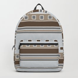 Squares and Stripes in Gray and Browns Backpack