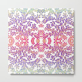 Gorgeous Foliage Pattern - Pastels and Gold Metal Print