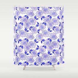 Beautiful blue classy elegant feminine flowers. Pretty delicate floral pattern design. Shower Curtain