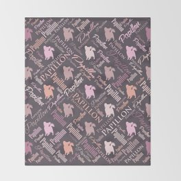 Papillon Word Art Throw Blanket