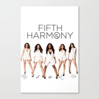 fifth harmony Canvas Prints featuring Fifth Harmony - signatures by xamjx3