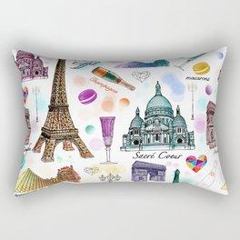 Voyage à Paris (Watercolor) Rectangular Pillow